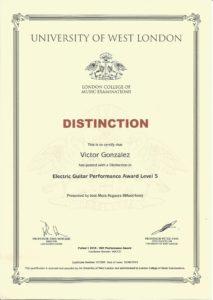 شهادة معتمدة من كلية لندن للموسيقى